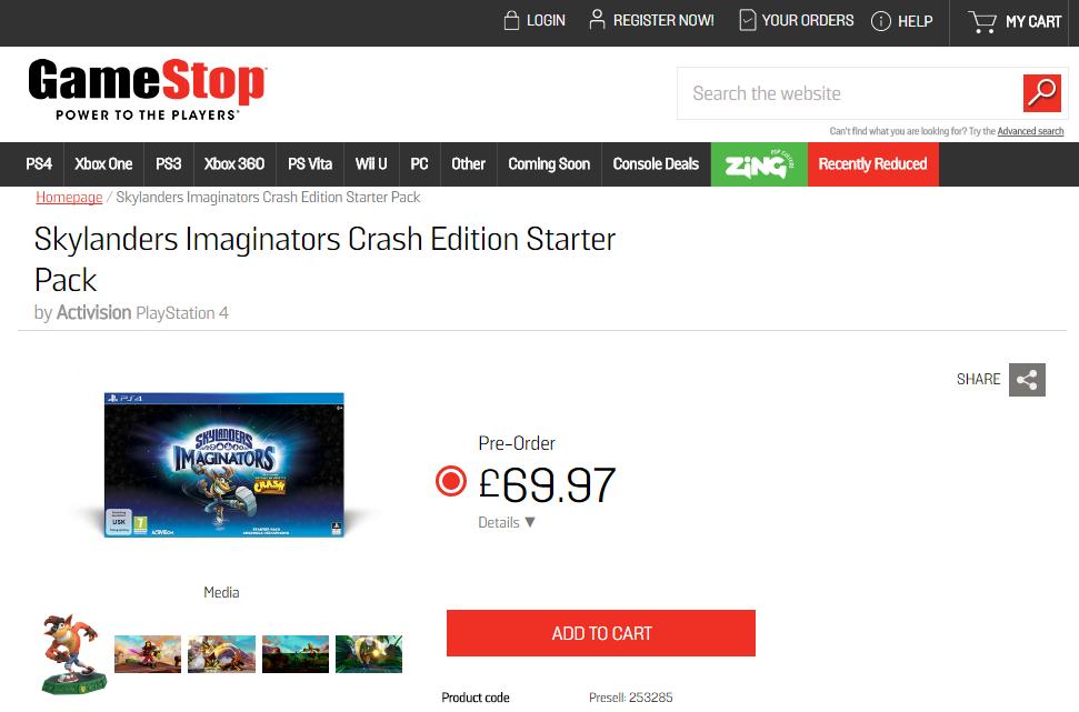 Preorder: GameStop (UK) – Skylanders Imaginators Crash