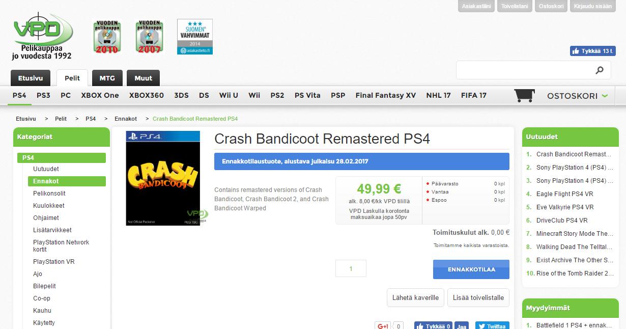VPD (Finland): Crash Bandicoot N  Sane Trilogy Preorder