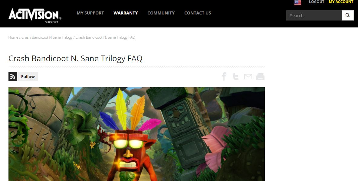 activision support crash bandicoot n sane trilogy now available w rh crashynews wordpress com support.activision.com/manuals skylanders swap force wii Activision Blizzard