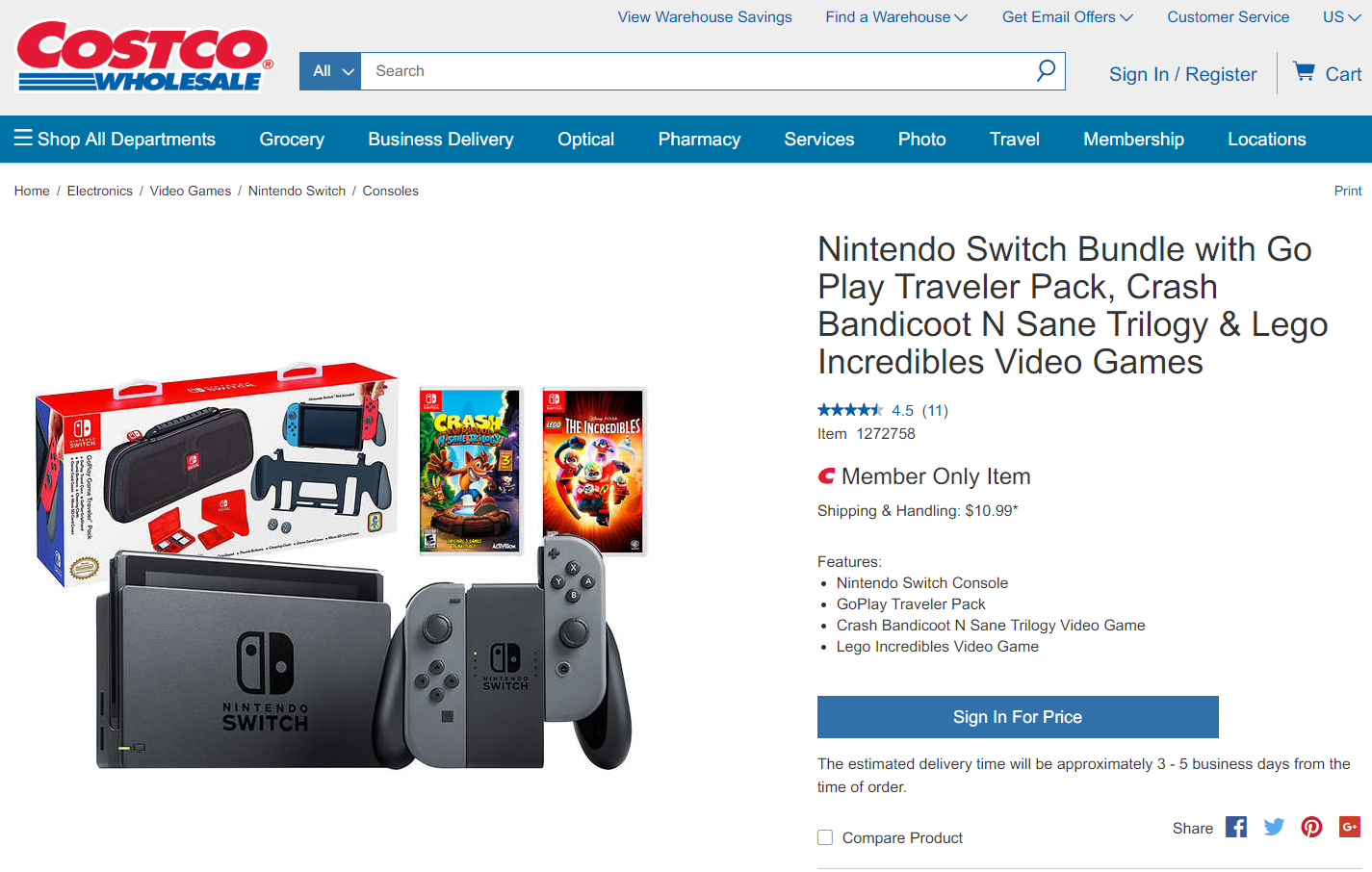 Costco Members Only Nintendo Switch Bundle Grey Joy Con W Crash Bandicoot N Sane Trilogy Lego Incredibles Go Play Traveler Pack Crashy News La nintendo switch, sortie en 2017, est un objet hybride, qui se transforme au gré des usages. crash bandicoot n sane trilogy lego