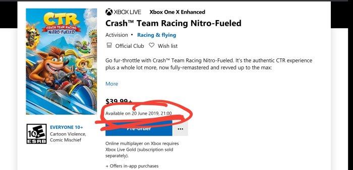 Microsoft Store: Crash Team Racing Nitro-Fueled Xbox One