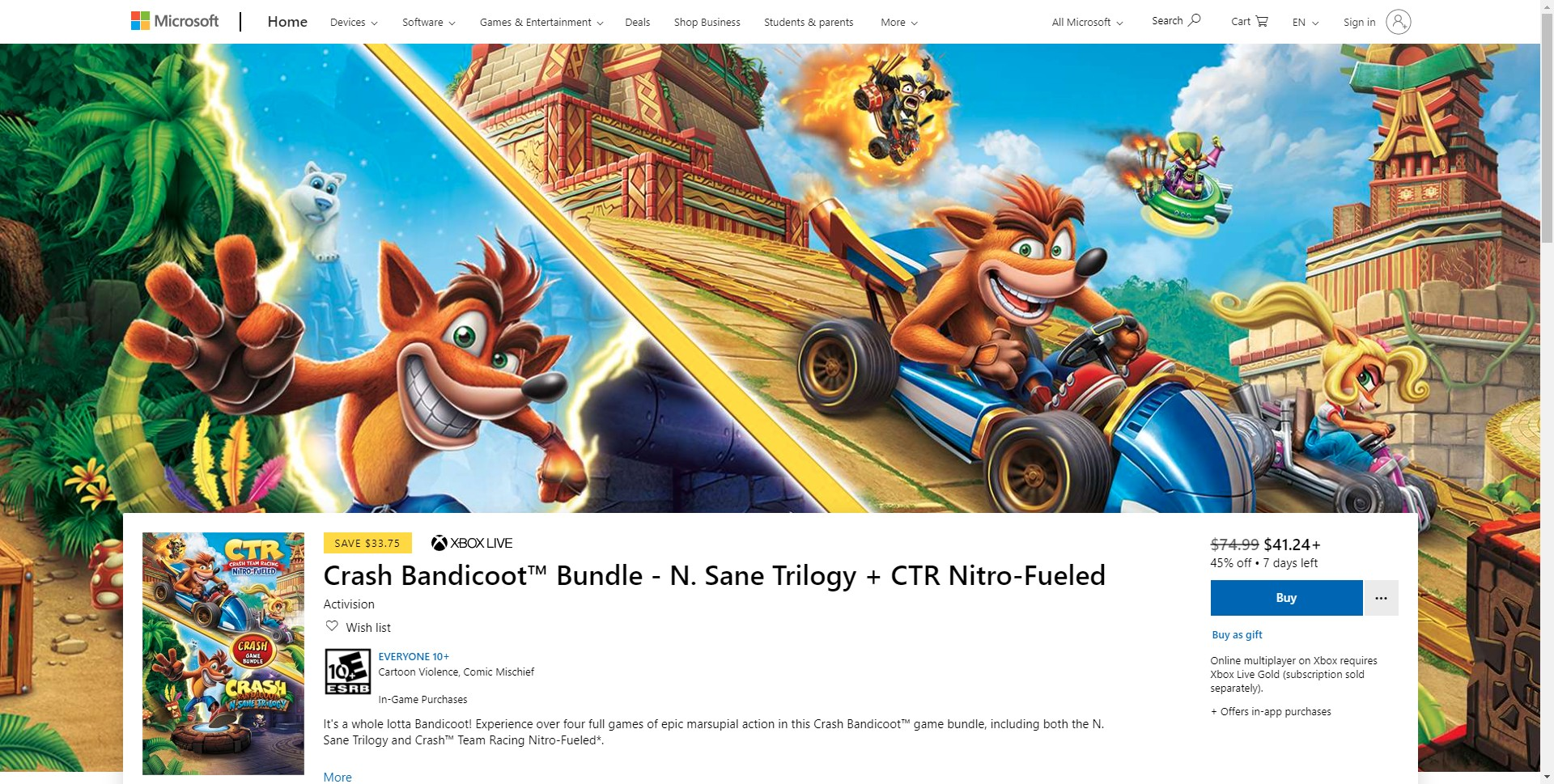 Microsoft Store Crash Bandicoot N Sane Trilogy And Crash Team Racing Nitro Fueled Bundle For Xbox One Is On Sale For 41 24 7 Days Left Crashy News